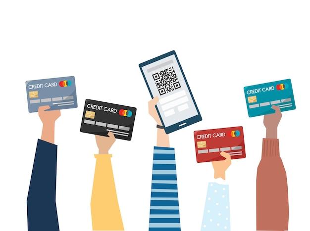 Ilustración del pago en línea con tarjeta de crédito Vector Premium