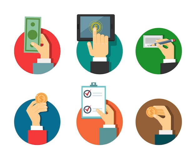 Ilustración de pagos con las manos en un estilo moderno plano. vector gratuito