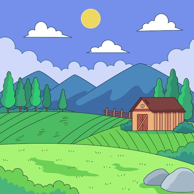 Ilustración de paisaje de campo Vector Premium