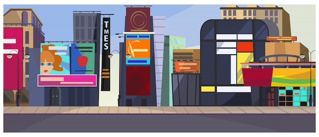 Ilustración de paisaje urbano de nueva york vector gratuito