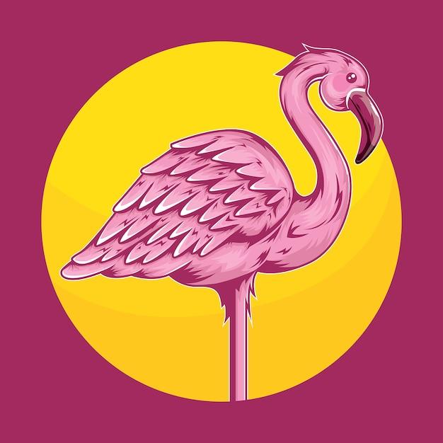 Ilustración de pájaro flamenco animal tropical Vector Premium