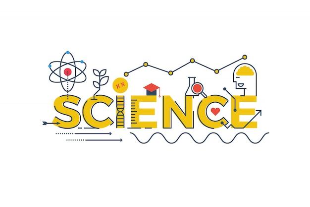 Ilustración de la palabra ciencia en stem - ciencia, tecnología, ingeniería, matemáticas Vector Premium