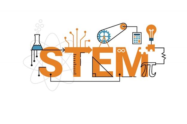 Ilustración de la palabra de educación stem (ciencia, tecnología, ingeniería, matemáticas) Vector Premium