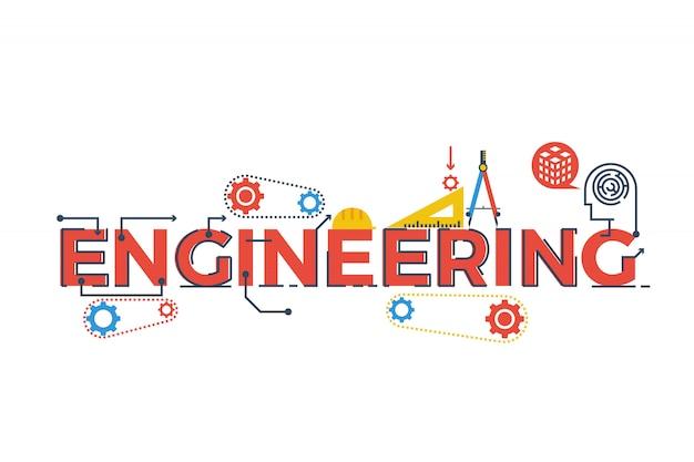 Ilustración de la palabra ingeniería en stem - ciencia, tecnología, ingeniería, matemáticas c Vector Premium