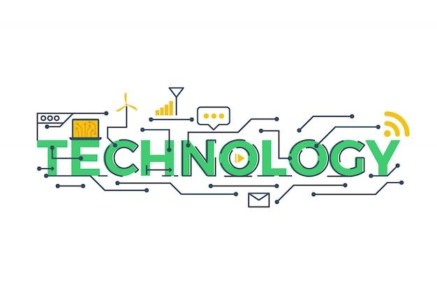 Ilustración de la palabra tecnología en stem - ciencia, tecnología, ingeniería, matemática co Vector Premium