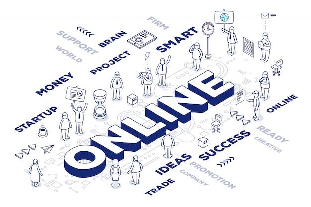Ilustración de la palabra tridimensional en línea con personas y etiquetas sobre fondo blanco con esquema. Vector Premium