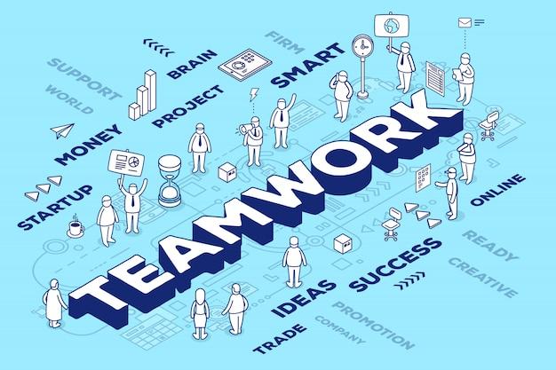 Ilustración de la palabra tridimensional trabajo en equipo con personas y etiquetas sobre fondo azul con esquema. concepto de trabajo en equipo de negocios. Vector Premium