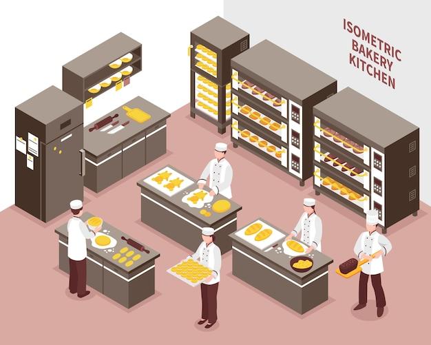 Ilustración de panadería isométrica vector gratuito
