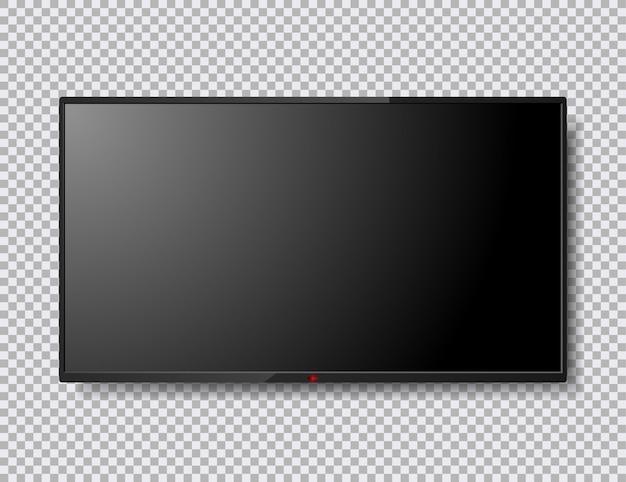 Ilustración de pantalla de tv realista aislada con botón rojo Vector Premium