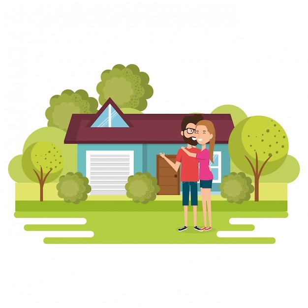 Ilustración de una pareja de amantes fuera de casa vector gratuito