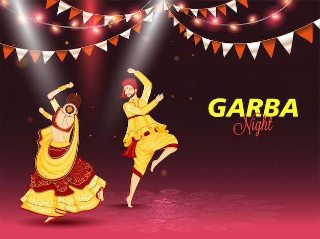 Ilustración de pareja bailando en ocasión del concepto de celebración de garba night Vector Premium