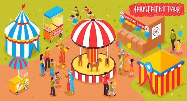 Ilustración del parque de entretenimiento familiar vector gratuito