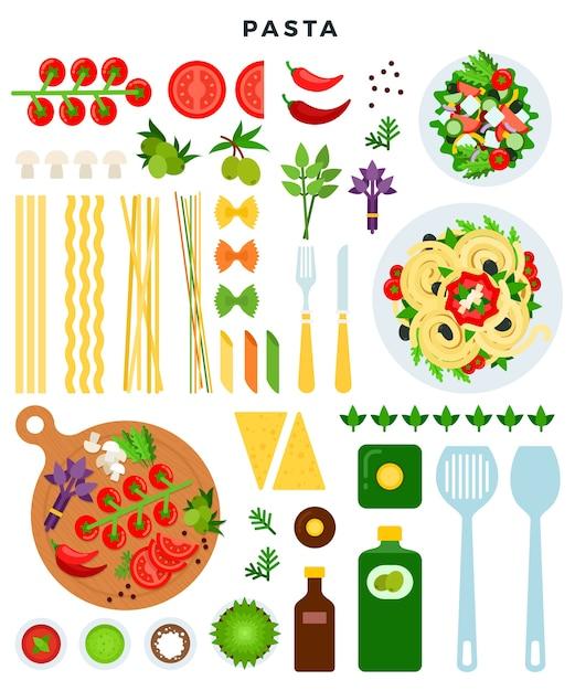 Ilustración de pasta italiana clásica de cocina Vector Premium