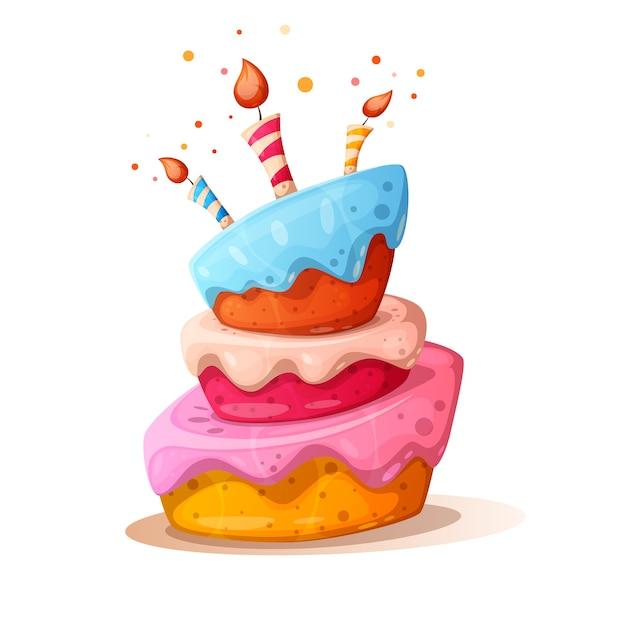 Ilustración de pastel de dibujos animados con vela Vector Premium