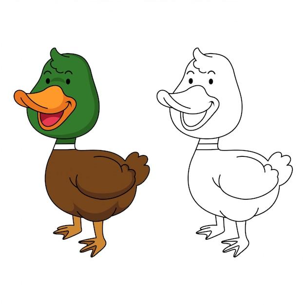 Ilustración De Pato Educativo Para Colorear Vector Premium