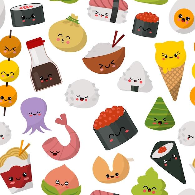 Ilustración de patrón de comida japonesa sushi. menú de cocina tradicional de japón. sushi, panecillos, arroz, salsa de soja, wasabi y fideos conjunto gourmet saludable. Vector Premium