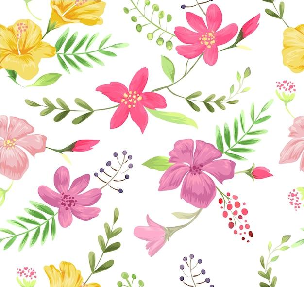 Ilustración de patrón de flor colorida inconsútil Vector Premium