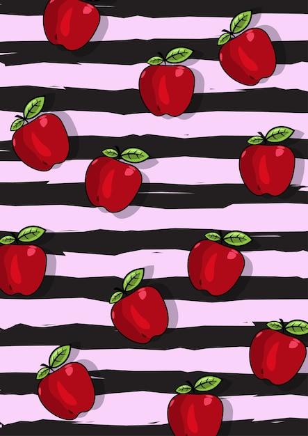 Una ilustración del patrón de fruta de manzana con fondo de rayas negras Vector Premium