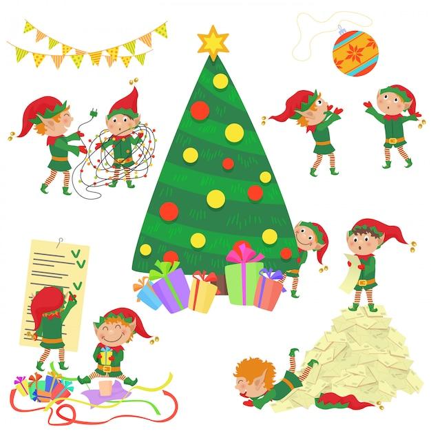 Ilustración de pequeños duendes lindos que adornan el conjunto del árbol de navidad. Vector Premium