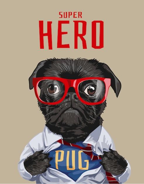 Ilustración de perro superhéroe pug Vector Premium