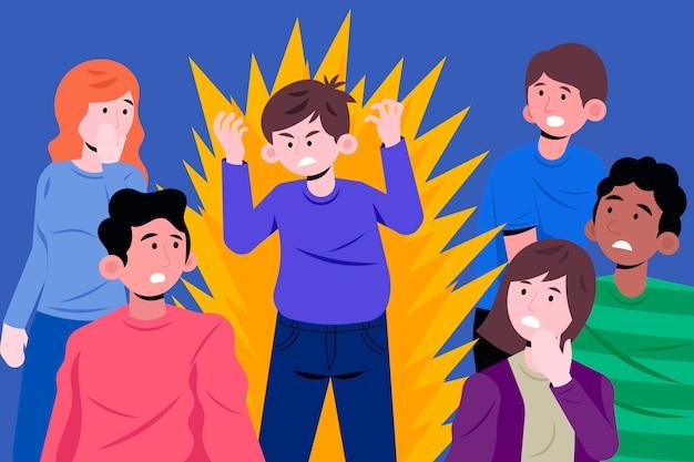 Ilustración de persona enojada en multitud vector gratuito