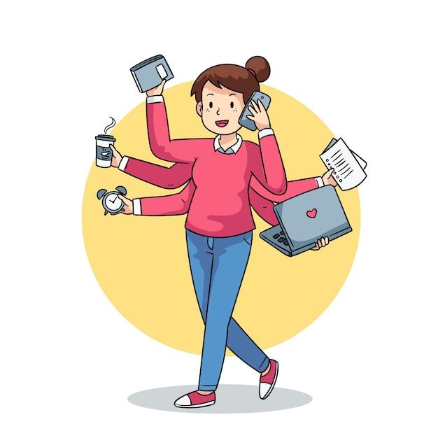 Ilustración de una persona multitarea vector gratuito