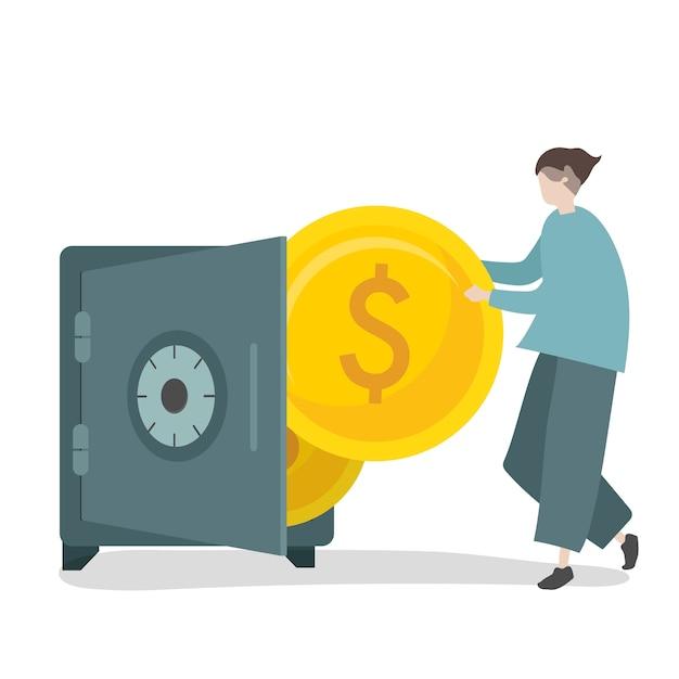 Ilustración de personaje ahorrando dinero en caja fuerte. vector gratuito