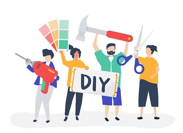 Ilustración de personaje de bricolaje concepto de mejoras para el hogar vector gratuito