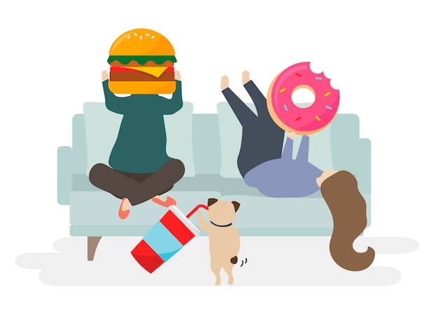 Ilustración de personaje con comida rápida. vector gratuito
