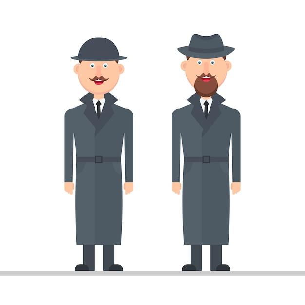 Ilustración de personaje detective aislado sobre fondo blanco. Vector Premium