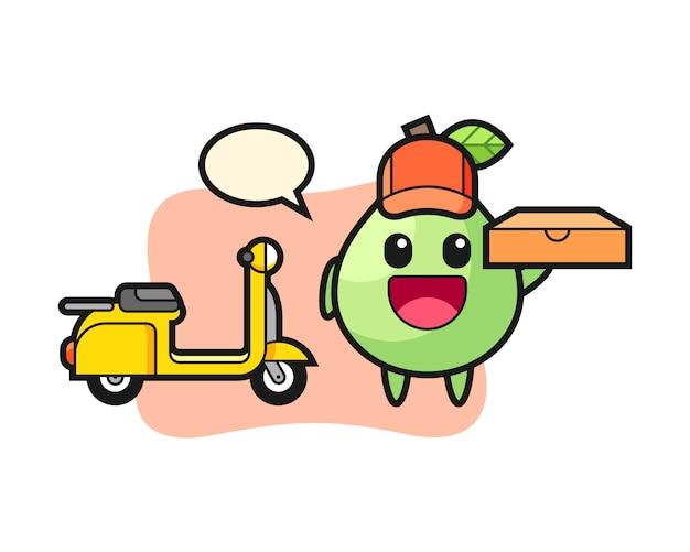 Ilustración de personaje de guayaba como repartidor de pizza, diseño de estilo lindo para camiseta, pegatina, elemento de logotipo Vector Premium