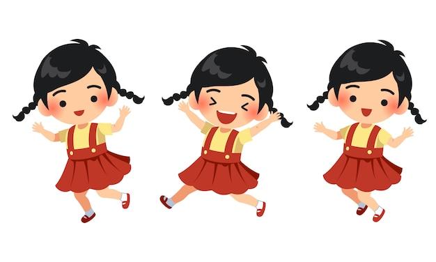 Ilustración de personaje linda niña feliz y saltando Vector Premium
