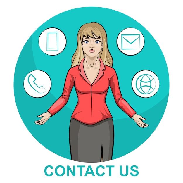 Ilustración de un personaje de mujer de negocios rubia con infografía en contacto con nosotros Vector Premium