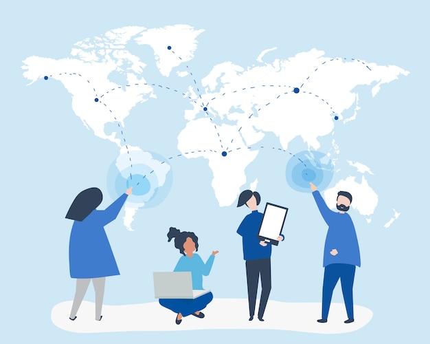 Ilustración de personaje de personas con concepto de red global vector gratuito
