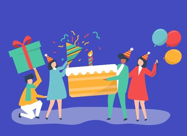 Ilustración de personaje de personas sosteniendo iconos de fiesta de cumpleaños vector gratuito