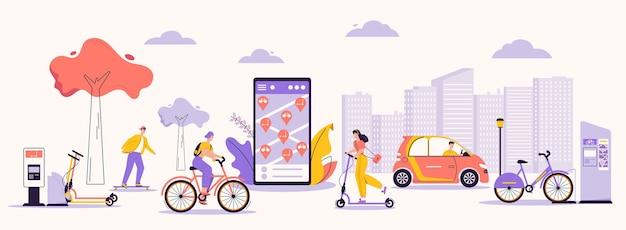 Ilustración de personaje de vector de infraestructura urbana y estilo de vida moderno. hombre, mujer con servicio de alquiler: patineta, patinete, bicicleta, coche eléctrico. Vector Premium