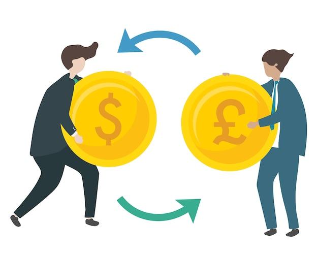 Ilustración de personajes intercambiando moneda. vector gratuito