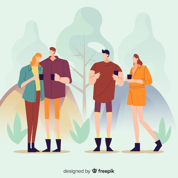 Ilustración de personas acampando en la naturaleza Vector Premium