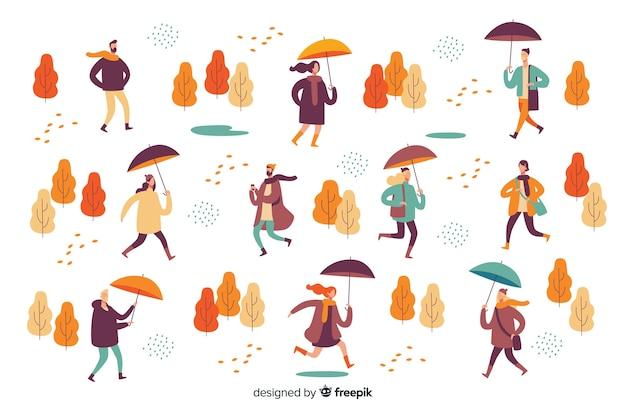 Ilustración de personas caminando en otoño vector gratuito