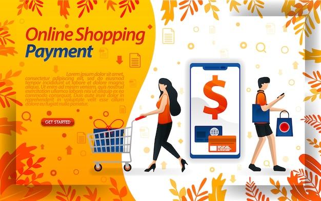 Ilustración de personas comprando y pagando en línea rápidamente. Vector Premium