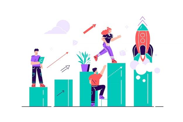 En la ilustración, las personas corren hacia su meta en una columna de columnas, suben la motivación, la forma de alcanzar la meta, se disparan. ilustración de estilo plano de diseño moderno para página web Vector Premium