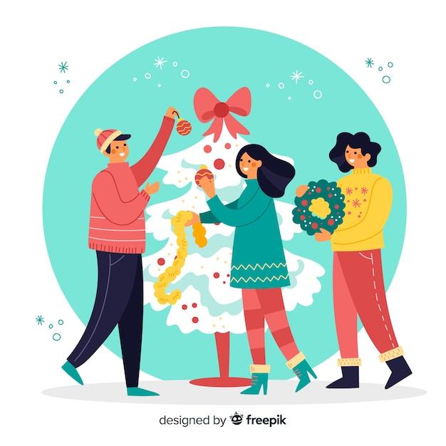 Ilustración personas decorando el árbol de navidad vector gratuito