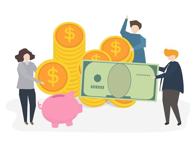Ilustración de personas con dinero. vector gratuito