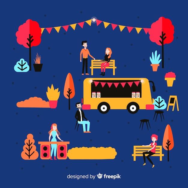 Ilustración de personas en una feria de noches. vector gratuito