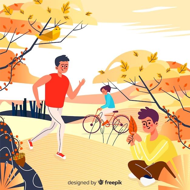 Ilustración de personas en el parque otoño vector gratuito
