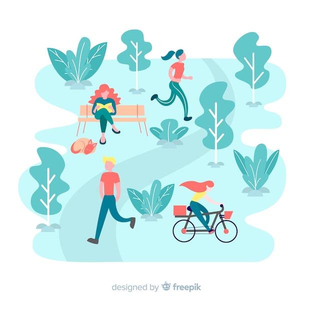 Ilustración de personas en el parque vector gratuito