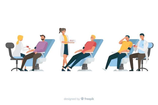 Ilustración de personas que donan sangre vector gratuito