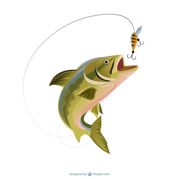 Ilustración pescando una trucha Vector Premium