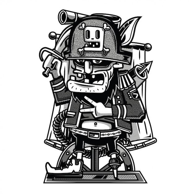 Ilustración de piratas en blanco y negro Vector Premium