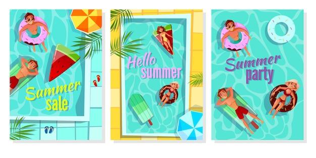 Ilustración de piscina de verano para cartel de venta de tienda, invitación de fiesta y hola saludo de verano vector gratuito